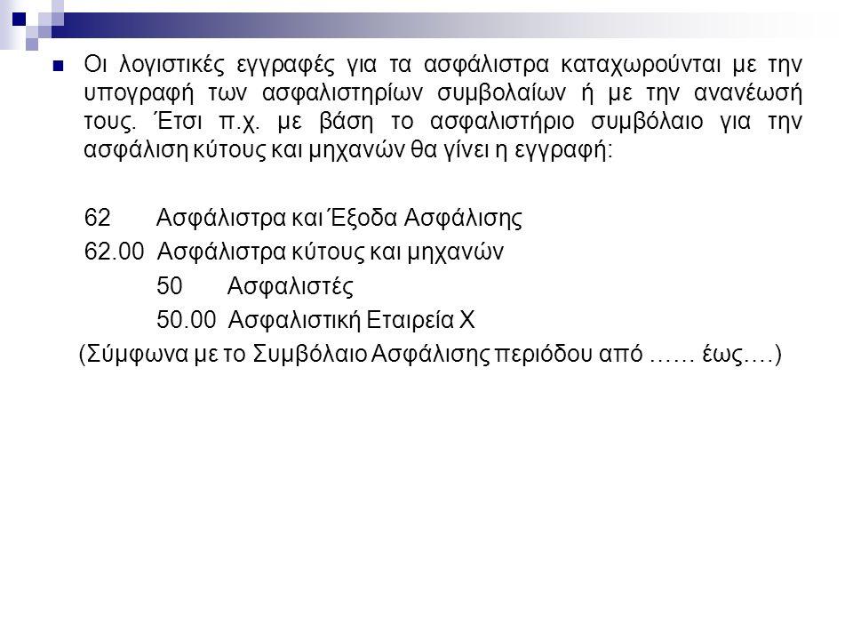 Οι λογιστικές εγγραφές για τα ασφάλιστρα καταχωρούνται με την υπογραφή των ασφαλιστηρίων συμβολαίων ή με την ανανέωσή τους.