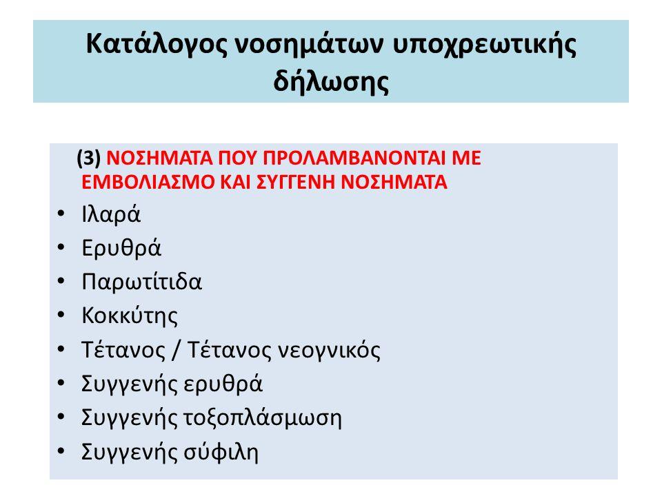 Κατάλογος νοσημάτων υποχρεωτικής δήλωσης (3) ΝΟΣΗΜΑΤΑ ΠΟΥ ΠΡΟΛΑΜΒΑΝΟΝΤΑΙ ΜΕ ΕΜΒΟΛΙΑΣΜΟ ΚΑΙ ΣΥΓΓΕΝΗ ΝΟΣΗΜΑΤΑ Ιλαρά Ερυθρά Παρωτίτιδα Κοκκύτης Τέτανος / Τέτανος νεογνικός Συγγενής ερυθρά Συγγενής τοξοπλάσμωση Συγγενής σύφιλη