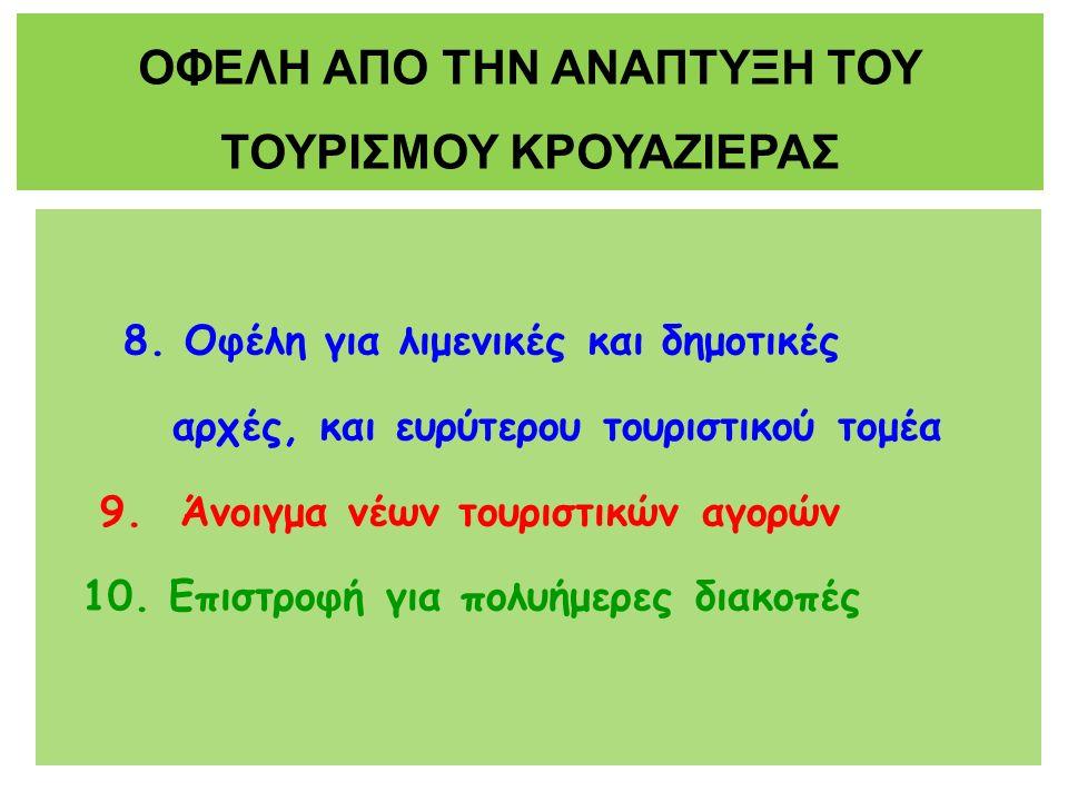 8. Οφέλη για λιμενικές και δημοτικές αρχές, και ευρύτερου τουριστικού τομέα 9.