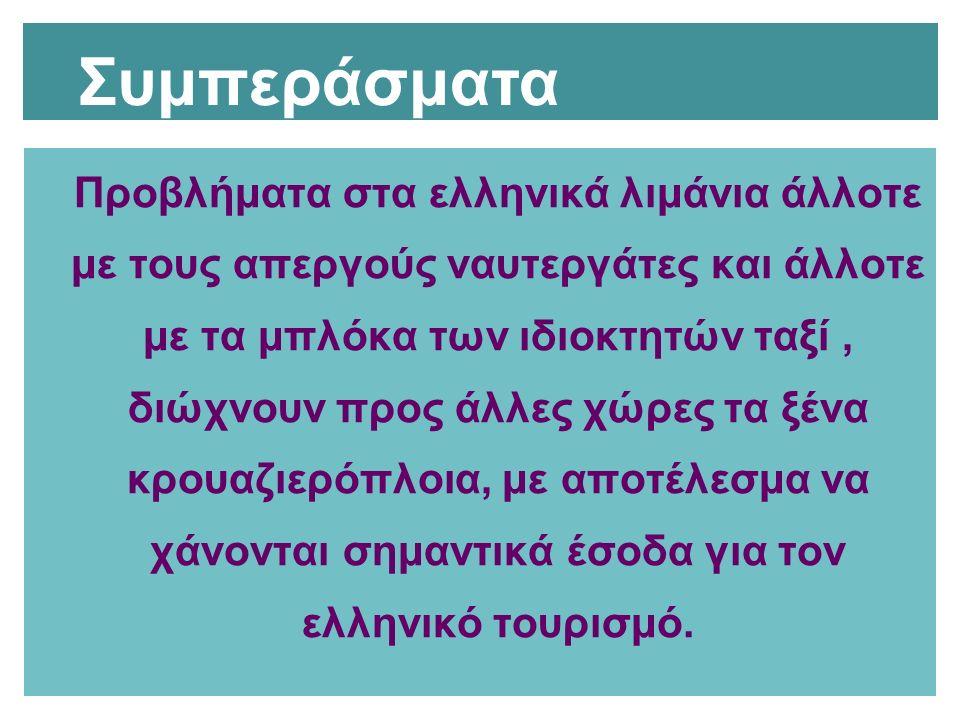 Προβλήματα στα ελληνικά λιμάνια άλλοτε με τους απεργούς ναυτεργάτες και άλλοτε με τα μπλόκα των ιδιοκτητών ταξί, διώχνουν προς άλλες χώρες τα ξένα κρο