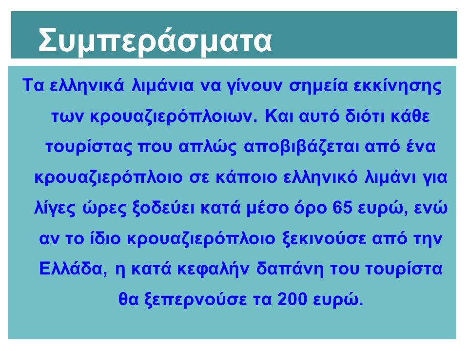 Τα ελληνικά λιμάνια να γίνουν σημεία εκκίνησης των κρουαζιερόπλοιων. Και αυτό διότι κάθε τουρίστας που απλώς αποβιβάζεται από ένα κρουαζιερόπλοιο σε κ