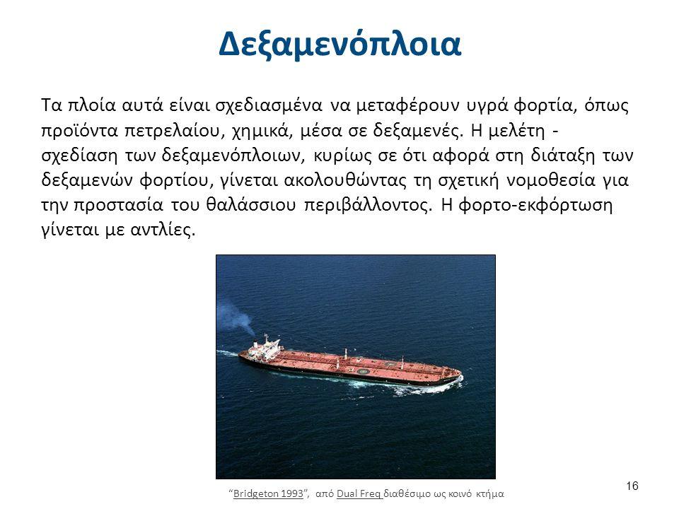 Δεξαμενόπλοια Τα πλοία αυτά είναι σχεδιασμένα να μεταφέρουν υγρά φορτία, όπως προϊόντα πετρελαίου, χημικά, μέσα σε δεξαμενές.