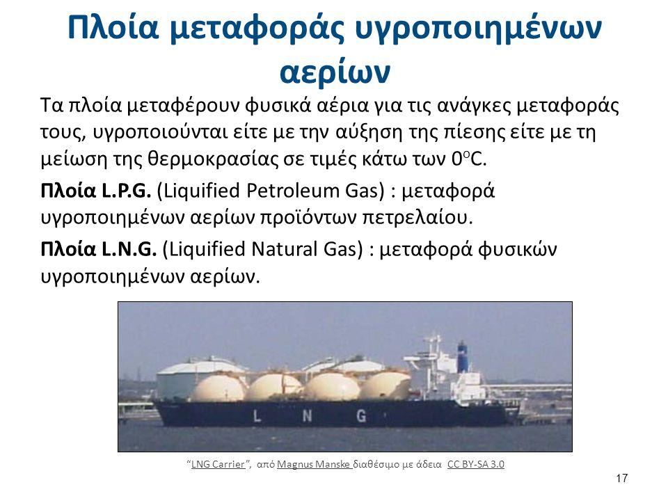 Πλοία μεταφοράς υγροποιημένων αερίων Τα πλοία μεταφέρουν φυσικά αέρια για τις ανάγκες μεταφοράς τους, υγροποιούνται είτε με την αύξηση της πίεσης είτε με τη μείωση της θερμοκρασίας σε τιμές κάτω των 0 ο C.