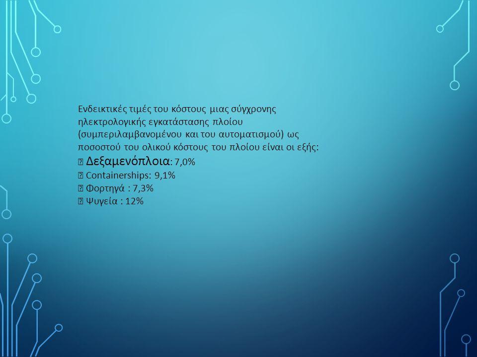 Ενδεικτικές τιμές του κόστους μιας σύγχρονης ηλεκτρολογικής εγκατάστασης πλοίου (συμπεριλαμβανομένου και του αυτοματισμού) ως ποσοστού του ολικού κόστους του πλοίου είναι οι εξής:  Δεξαμενόπλοια : 7,0%  Containerships: 9,1%  Φορτηγά : 7,3%  Ψυγεία : 12%
