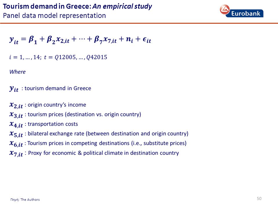 50 Πηγή: The Authors Tourism demand in Greece: An empirical study Panel data model representation