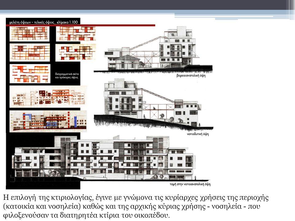 Η επιλογή της κτιριολογίας, έγινε με γνώμονα τις κυρίαρχες χρήσεις της περιοχής (κατοικία και νοσηλεία) καθώς και της αρχικής κύριας χρήσης - νοσηλεία - που φιλοξενούσαν τα διατηρητέα κτίρια του οικοπέδου.