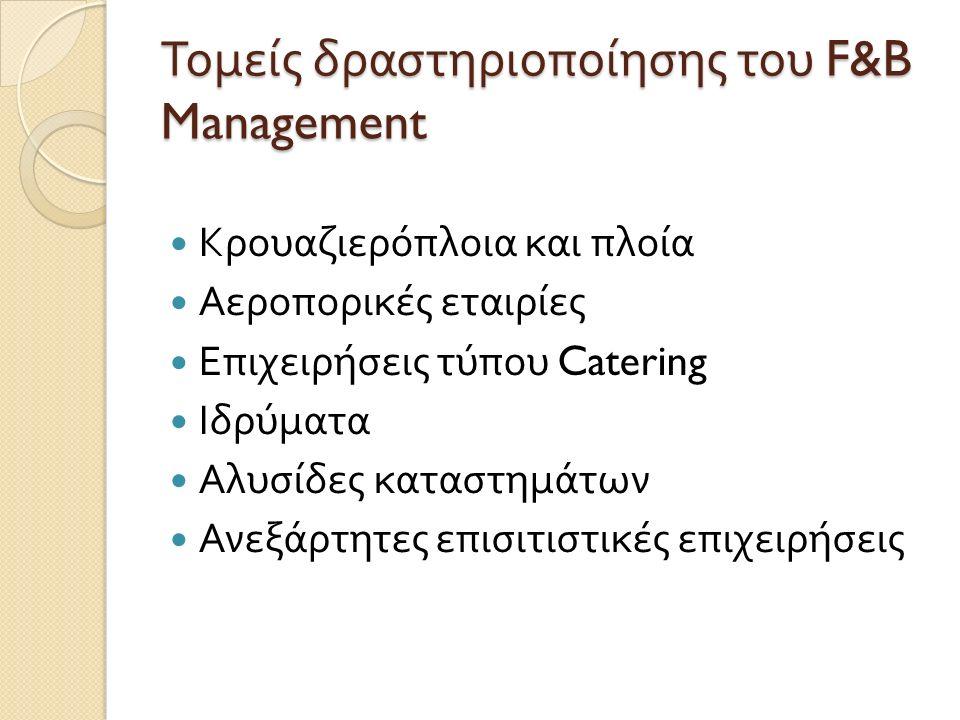 Τομείς δραστηριοποίησης του F&B Management Κρουαζιερόπλοια και πλοία Αεροπορικές εταιρίες Επιχειρήσεις τύπου Catering Ιδρύματα Αλυσίδες καταστημάτων Α