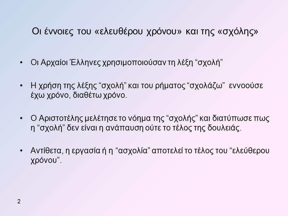 Οι Αρχαίοι Έλληνες χρησιμοποιούσαν τη λέξη σχολή Η χρήση της λέξης σχολή και του ρήματος σχολάζω εννοούσε έχω χρόνο, διαθέτω χρόνο.