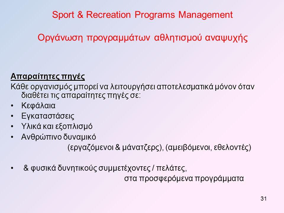 Sport & Recreation Programs Management Οργάνωση προγραμμάτων αθλητισμού αναψυχής Απαραίτητες πηγές Κάθε οργανισμός μπορεί να λειτουργήσει αποτελεσματικά μόνον όταν διαθέτει τις απαραίτητες πηγές σε: Κεφάλαια Εγκαταστάσεις Υλικά και εξοπλισμό Ανθρώπινο δυναμικό (εργαζόμενοι & μάνατζερς), (αμειβόμενοι, εθελοντές) & φυσικά δυνητικούς συμμετέχοντες / πελάτες, στα προσφερόμενα προγράμματα 31