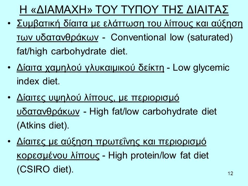 12 Η «ΔΙΑΜΑΧΗ» ΤΟΥ ΤΥΠΟΥ ΤΗΣ ΔΙΑΙΤΑΣ Συμβατική δίαιτα με ελάττωση του λίπους και αύξηση των υδατανθράκων - Conventional low (saturated) fat/high carbohydrate diet.