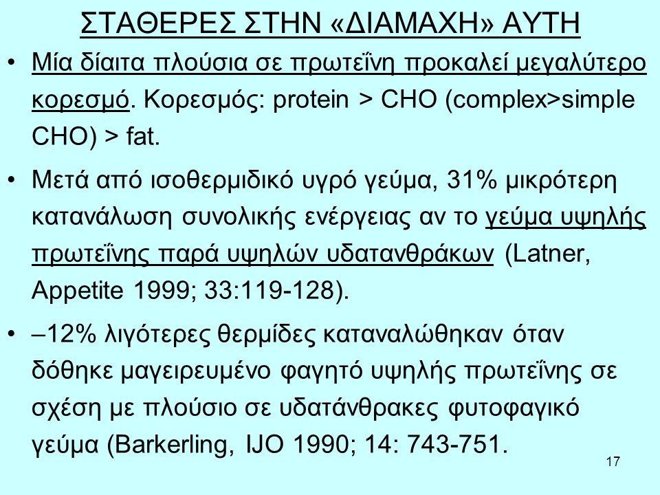 17 ΣΤΑΘΕΡΕΣ ΣΤΗΝ «ΔΙΑΜΑΧΗ» ΑΥΤΗ Μία δίαιτα πλούσια σε πρωτεΐνη προκαλεί μεγαλύτερο κορεσμό.