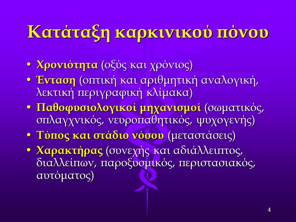 4 Κατάταξη καρκινικού πόνου Χρονιότητα (οξύς και χρόνιος) Χρονιότητα (οξύς και χρόνιος) Ένταση (οπτική και αριθμητική αναλογική, λεκτική περιγραφική κλίμακα) Ένταση (οπτική και αριθμητική αναλογική, λεκτική περιγραφική κλίμακα) Παθοφυσιολογικοί μηχανισμοί (σωματικός, σπλαγχνικός, νευροπαθητικός, ψυχογενής) Παθοφυσιολογικοί μηχανισμοί (σωματικός, σπλαγχνικός, νευροπαθητικός, ψυχογενής) Τύπος και στάδιο νόσου (μεταστάσεις) Τύπος και στάδιο νόσου (μεταστάσεις) Χαρακτήρας (συνεχής και αδιάλλειπτος, διαλλείπων, παροξυσμικός, περιστασιακός, αυτόματος) Χαρακτήρας (συνεχής και αδιάλλειπτος, διαλλείπων, παροξυσμικός, περιστασιακός, αυτόματος)