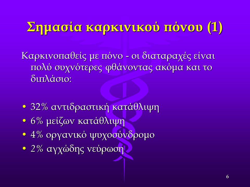 7 Σημασία καρκινικού πόνου (2) Καρκινοπαθείς με πόνο.