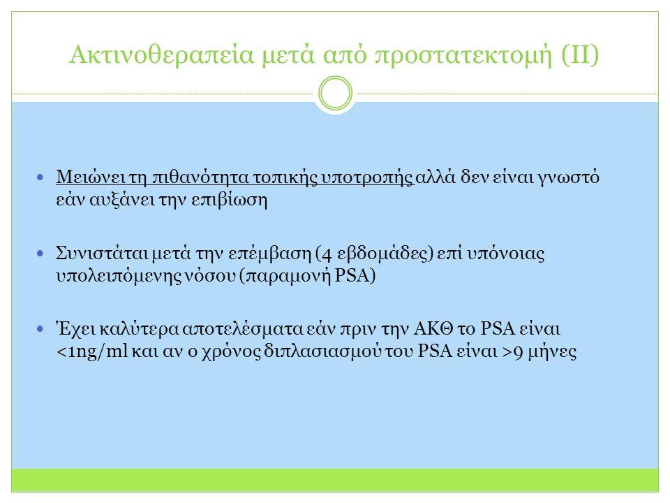 Μειώνει τη πιθανότητα τοπικής υποτροπής αλλά δεν είναι γνωστό εάν αυξάνει την επιβίωση Συνιστάται μετά την επέμβαση (4 εβδομάδες) επί υπόνοιας υπολειπόμενης νόσου (παραμονή PSA) Έχει καλύτερα αποτελέσματα εάν πριν την ΑΚΘ το PSA είναι 9 μήνες Ακτινοθεραπεία μετά από προστατεκτομή (II)