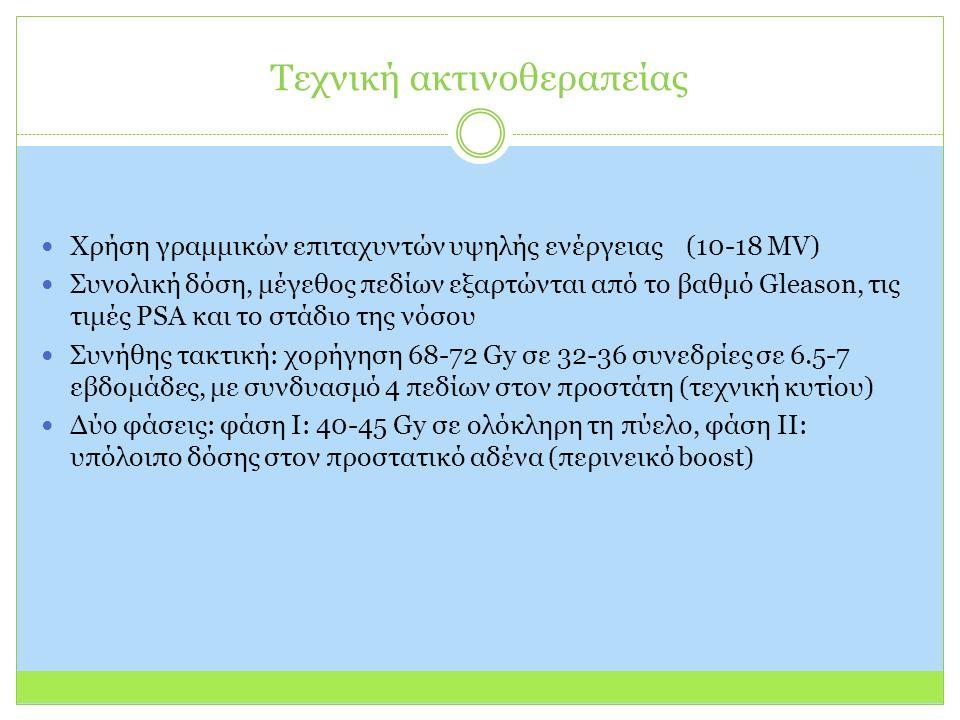 Χρήση γραμμικών επιταχυντών υψηλής ενέργειας (10-18 MV) Συνολική δόση, μέγεθος πεδίων εξαρτώνται από το βαθμό Gleason, τις τιμές PSA και το στάδιο της νόσου Συνήθης τακτική: χορήγηση 68-72 Gy σε 32-36 συνεδρίες σε 6.5-7 εβδομάδες, με συνδυασμό 4 πεδίων στον προστάτη (τεχνική κυτίου) Δύο φάσεις: φάση I: 40-45 Gy σε ολόκληρη τη πύελο, φάση II: υπόλοιπο δόσης στον προστατικό αδένα (περινεικό boost) Τεχνική ακτινοθεραπείας