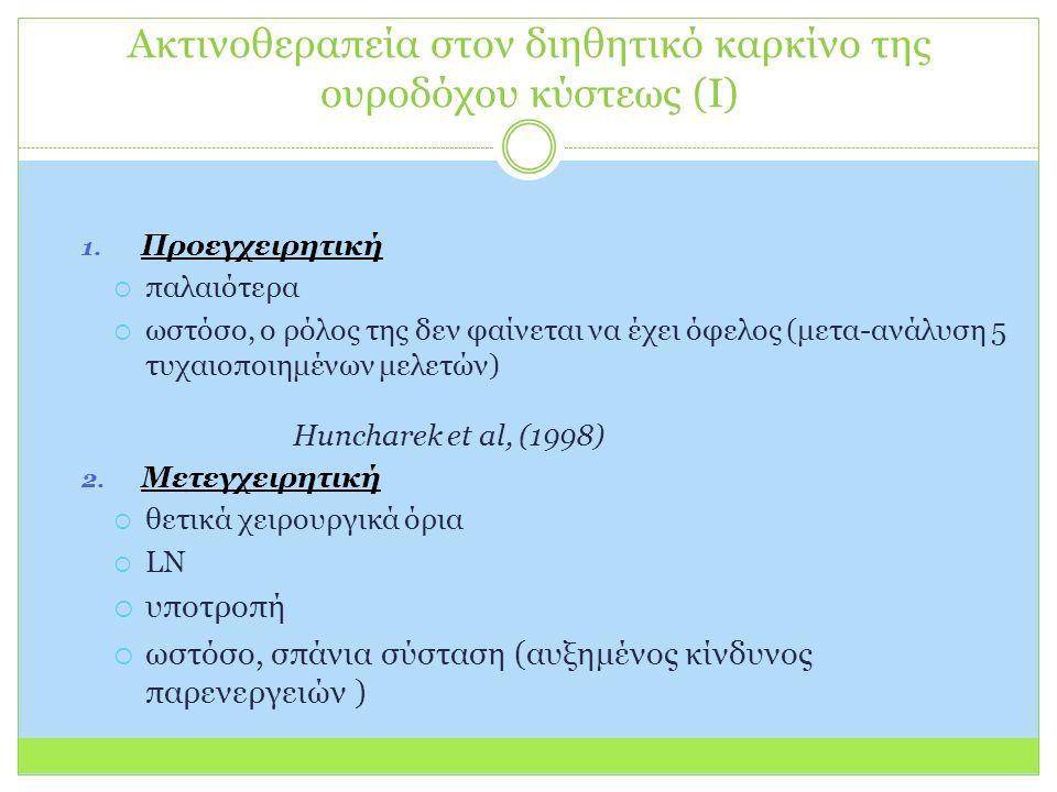Ακτινοθεραπεία στον διηθητικό καρκίνο της ουροδόχου κύστεως (Ι) 1.