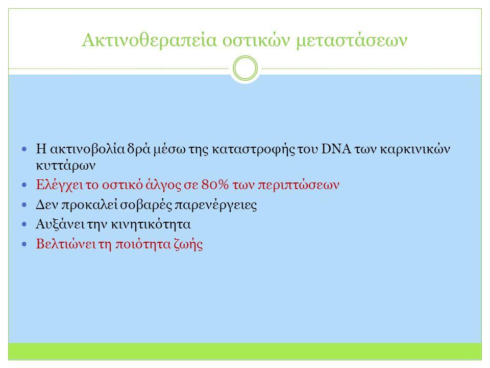 Ακτινοθεραπεία οστικών μεταστάσεων Η ακτινοβολία δρά μέσω της καταστροφής του DNA των καρκινικών κυττάρων Ελέγχει το οστικό άλγος σε 80% των περιπτώσεων Δεν προκαλεί σοβαρές παρενέργειες Αυξάνει την κινητικότητα Βελτιώνει τη ποιότητα ζωής