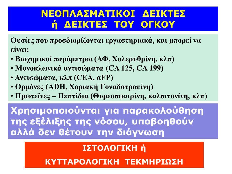 ΝΕΟΠΛΑΣΜΑΤΙΚΟΙ ΔΕΙΚΤΕΣ ή ΔΕΙΚΤΕΣ ΤΟΥ ΟΓΚΟΥ Ουσίες που προσδιορίζονται εργαστηριακά, και μπορεί να είναι: Βιοχημικοί παράμετροι (ΑΦ, Χολερυθρίνη, κλπ) Μονοκλωνικά αντισώματα (CA 125, CA 199) Αντισώματα, κλπ (CEA, αFP) Ορμόνες (ADH, Χοριακή Γοναδοτροπίνη) Πρωτεϊνες – Πεπτίδια (Θυρεοσφαιρίνη, καλσιτονίνη, κλπ) Χρησιμοποιούνται για παρακολούθηση της εξέλιξης της νόσου, υποβοηθούν αλλά δεν θέτουν την διάγνωση ΙΣΤΟΛΟΓΙΚΗ ή ΚΥΤΤΑΡΟΛΟΓΙΚΗ ΤΕΚΜΗΡΙΩΣΗ