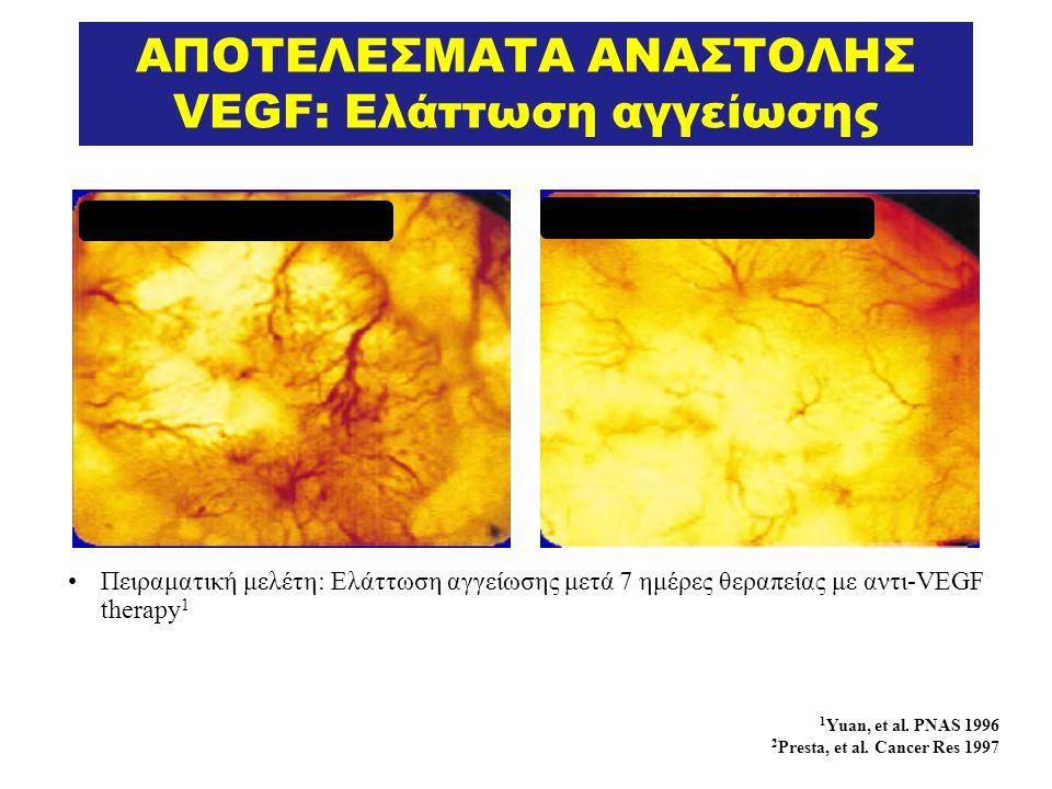 ΑΠΟΤΕΛΕΣΜΑΤΑ ΑΝΑΣΤΟΛΗΣ VEGF: Ελάττωση αγγείωσης 1 Yuan, et al.