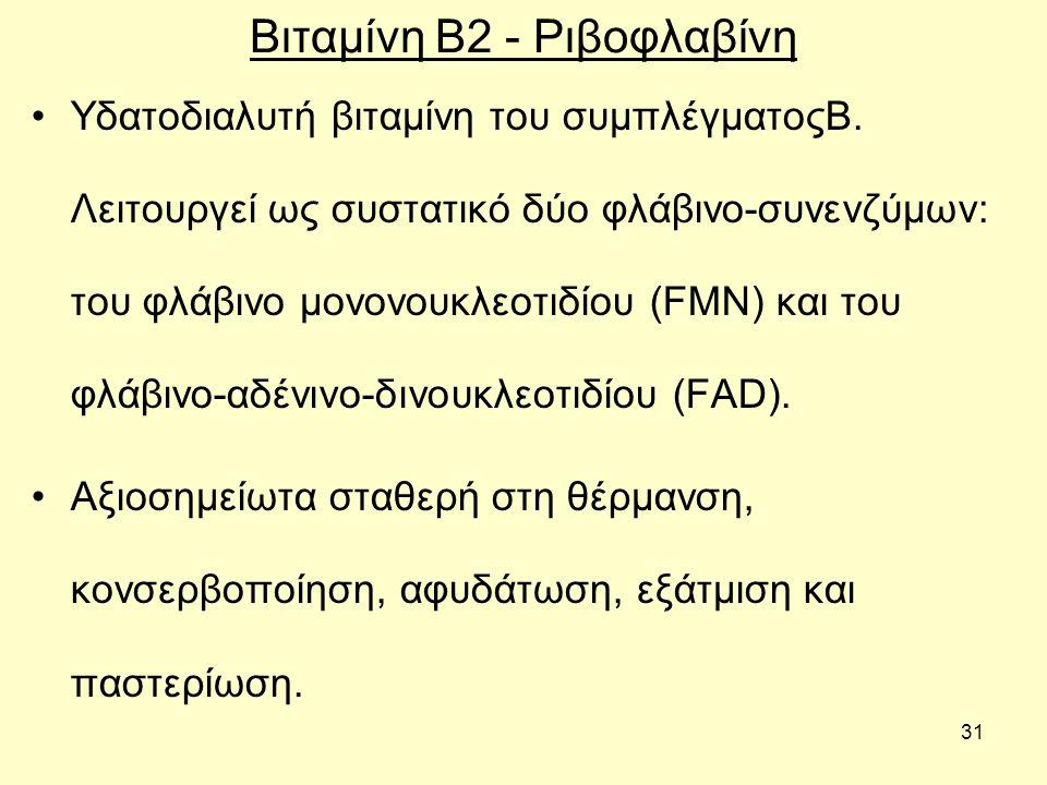 31 Βιταμίνη Β2 - Ριβοφλαβίνη Υδατοδιαλυτή βιταµίνη του συµπλέγµατοςΒ.