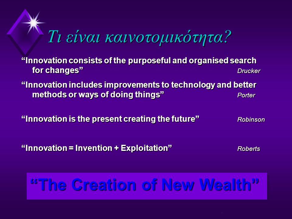 Παράγοντες που επηρρεάζουν την καινοτομικότητα u Διοίκηση με φαντασία, όραμα και αντίληψη του ρίσκου u Κατάλληλη χρηματοδότηση u Κατάλληλα εκπαιδευμένο και empowered προσωπικό u Μία βαθιά αντίληψη των αγορών (π.χ.
