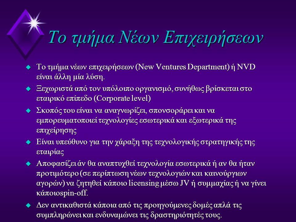 Το τμήμα Νέων Επιχειρήσεων u Το τμήμα νέων επιχειρήσεων (New Ventures Department) ή NVD είναι άλλη μία λύση.
