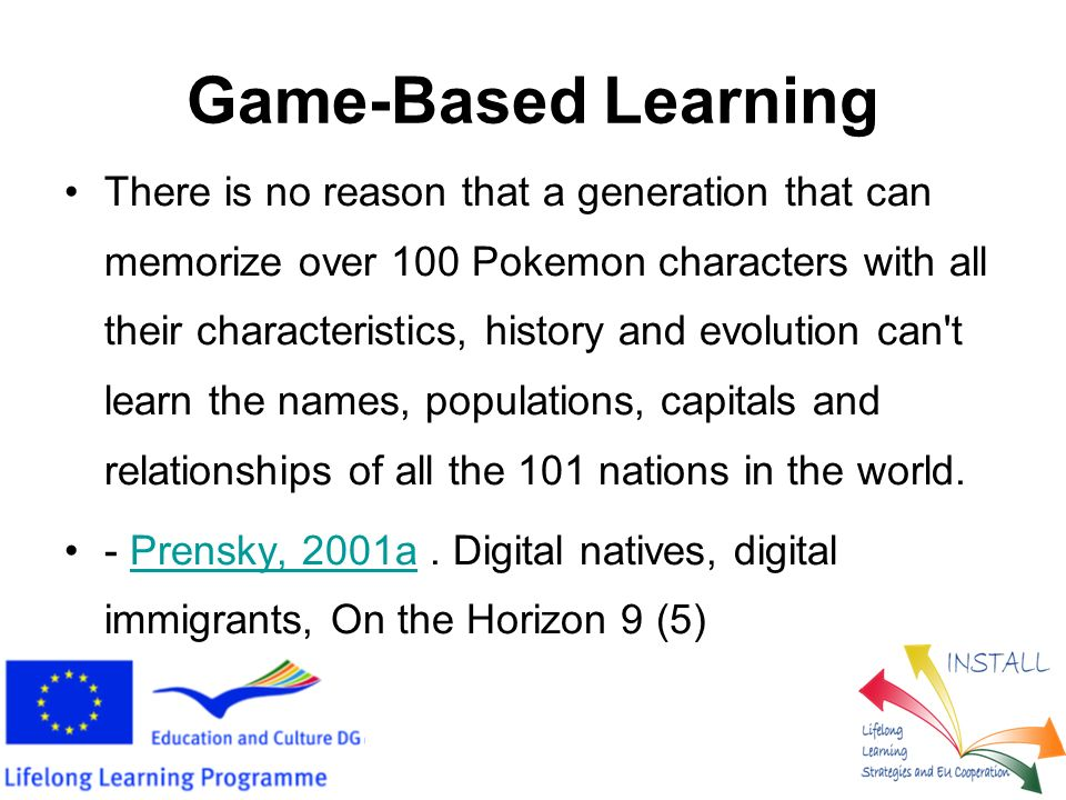 InSTALL (3) We deliver the following: Pool of questions to be used by the Game- based learning application Web game-based learning application Mobile platform game-based learning application