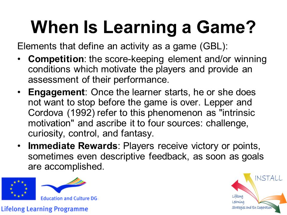 When is a Game Educational.Make learning integral to scoring and winning.