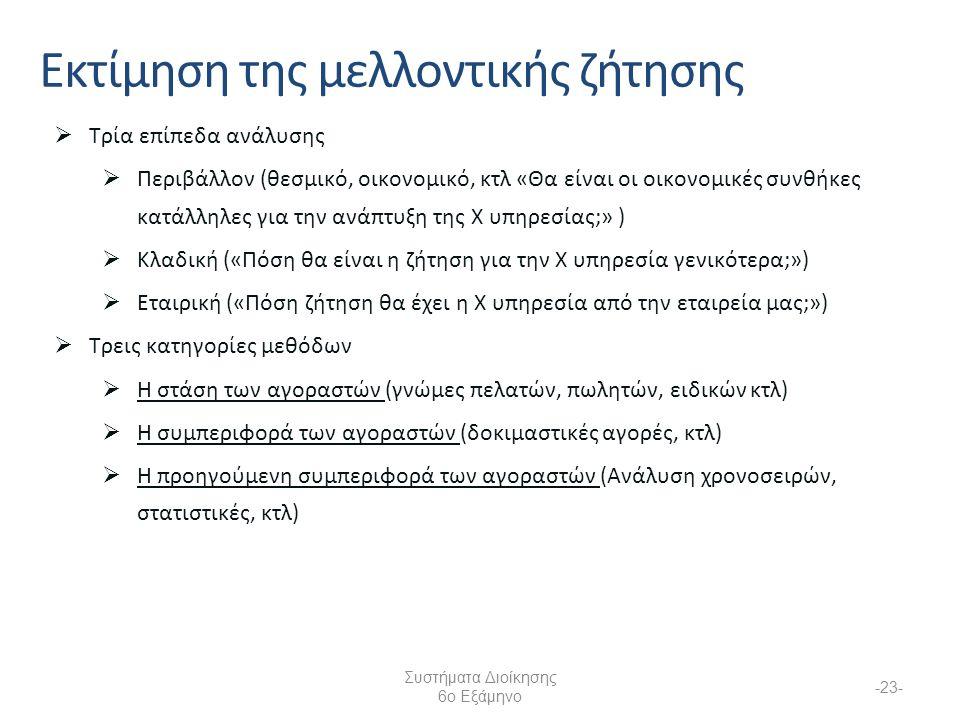 Συστήματα Διοίκησης 6ο Εξάμηνο -23- Εκτίμηση της μελλοντικής ζήτησης  Τρία επίπεδα ανάλυσης  Περιβάλλον (θεσμικό, οικονομικό, κτλ «Θα είναι οι οικονομικές συνθήκες κατάλληλες για την ανάπτυξη της Χ υπηρεσίας;» )  Κλαδική («Πόση θα είναι η ζήτηση για την Χ υπηρεσία γενικότερα;»)  Εταιρική («Πόση ζήτηση θα έχει η Χ υπηρεσία από την εταιρεία μας;»)  Τρεις κατηγορίες μεθόδων  Η στάση των αγοραστών (γνώμες πελατών, πωλητών, ειδικών κτλ)  Η συμπεριφορά των αγοραστών (δοκιμαστικές αγορές, κτλ)  Η προηγούμενη συμπεριφορά των αγοραστών (Ανάλυση χρονοσειρών, στατιστικές, κτλ)