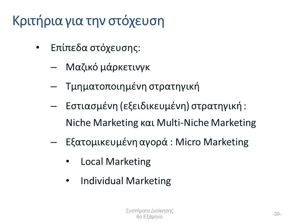 Συστήματα Διοίκησης 6ο Εξάμηνο -39- Επίπεδα στόχευσης: – Μαζικό μάρκετινγκ – Τμηματοποιημένη στρατηγική – Εστιασμένη (εξειδικευμένη) στρατηγική : Niche Marketing και Multi-Niche Marketing – Εξατομικευμένη αγορά : Micro Marketing Local Marketing Individual Marketing Κριτήρια για την στόχευση