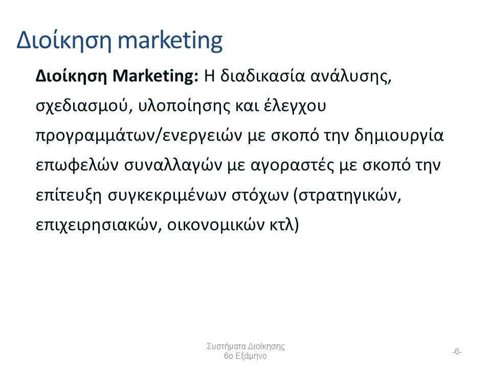 Διοίκηση Marketing: Η διαδικασία ανάλυσης, σχεδιασμού, υλοποίησης και έλεγχου προγραμμάτων/ενεργειών με σκοπό την δημιουργία επωφελών συναλλαγών με αγοραστές με σκοπό την επίτευξη συγκεκριμένων στόχων (στρατηγικών, επιχειρησιακών, οικονομικών κτλ) Διοίκηση marketing Συστήματα Διοίκησης 6ο Εξάμηνο -6-