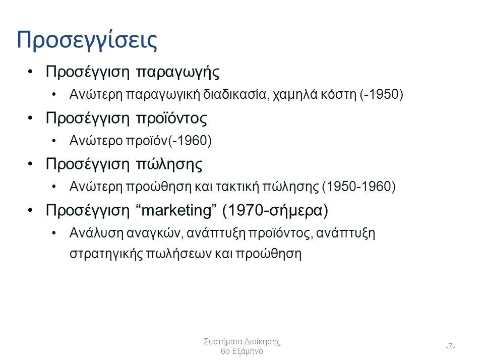 Συστήματα Διοίκησης 6ο Εξάμηνο -7- Προσεγγίσεις Προσέγγιση παραγωγής Ανώτερη παραγωγική διαδικασία, χαμηλά κόστη (-1950) Προσέγγιση προϊόντος Ανώτερο προϊόν(-1960) Προσέγγιση πώλησης Ανώτερη προώθηση και τακτική πώλησης (1950-1960) Προσέγγιση marketing (1970-σήμερα) Ανάλυση αναγκών, ανάπτυξη προϊόντος, ανάπτυξη στρατηγικής πωλήσεων και προώθηση
