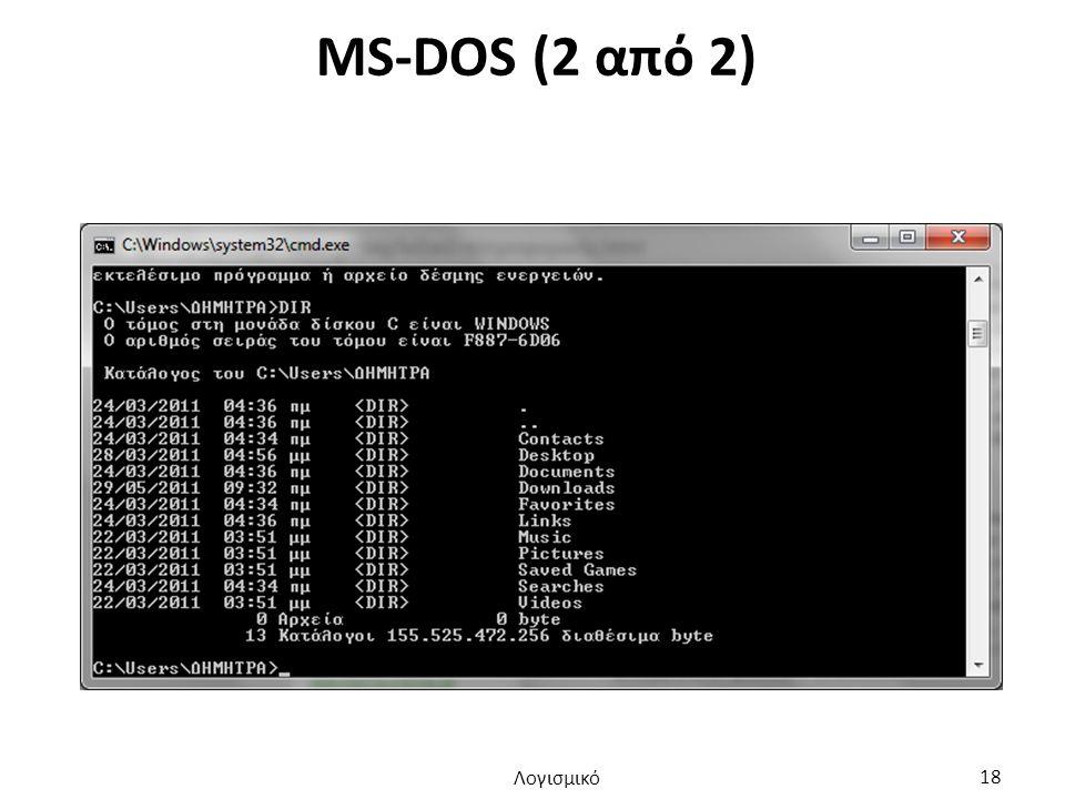 MS-DOS (2 από 2) Λογισμικό 18