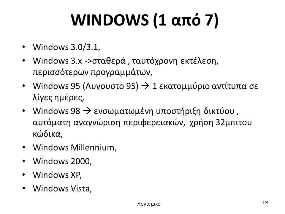 WINDOWS (1 από 7) Windows 3.0/3.1, Windows 3.x ->σταθερά, ταυτόχρονη εκτέλεση, περισσότερων προγραμμάτων, Windows 95 (Αυγουστο 95)  1 εκατομμύριο αντίτυπα σε λίγες ημέρες, Windows 98  ενσωματωμένη υποστήριξη δικτύου, αυτόματη αναγνώριση περιφερειακών, χρήση 32μπιτου κώδικα, Windows Millennium, Windows 2000, Windows XP, Windows Vista, Λογισμικό 19
