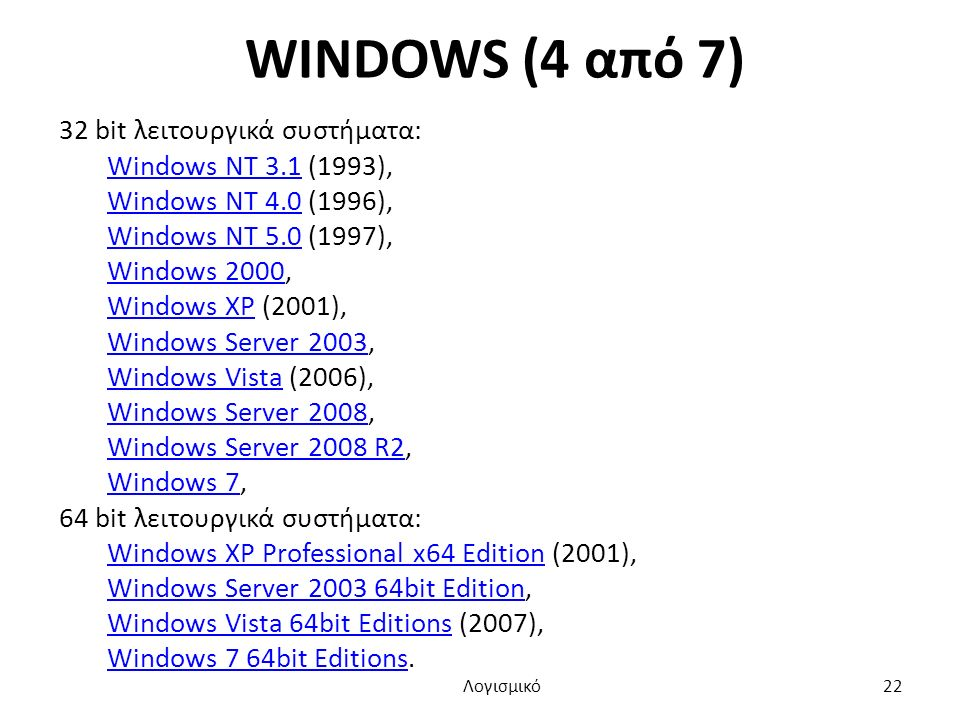 WINDOWS (4 από 7) 32 bit λειτουργικά συστήματα: Windows NT 3.1Windows NT 3.1 (1993), Windows NT 4.0Windows NT 4.0 (1996), Windows NT 5.0Windows NT 5.0 (1997), Windows 2000Windows 2000, Windows XPWindows XP (2001), Windows Server 2003Windows Server 2003, Windows VistaWindows Vista (2006), Windows Server 2008Windows Server 2008, Windows Server 2008 R2Windows Server 2008 R2, Windows 7Windows 7, 64 bit λειτουργικά συστήματα: Windows XP Professional x64 EditionWindows XP Professional x64 Edition (2001), Windows Server 2003 64bit EditionWindows Server 2003 64bit Edition, Windows Vista 64bit EditionsWindows Vista 64bit Editions (2007), Windows 7 64bit EditionsWindows 7 64bit Editions.