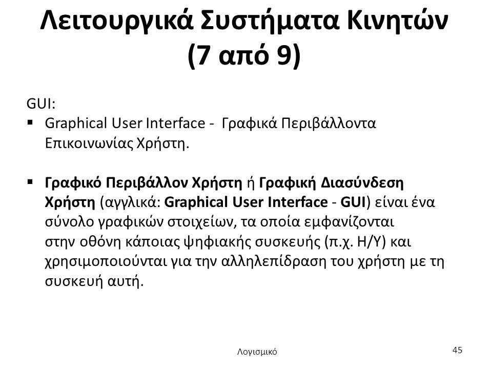 Λειτουργικά Συστήματα Κινητών (7 από 9) GUI:  Graphical User Interface - Γραφικά Περιβάλλοντα Επικοινωνίας Χρήστη.