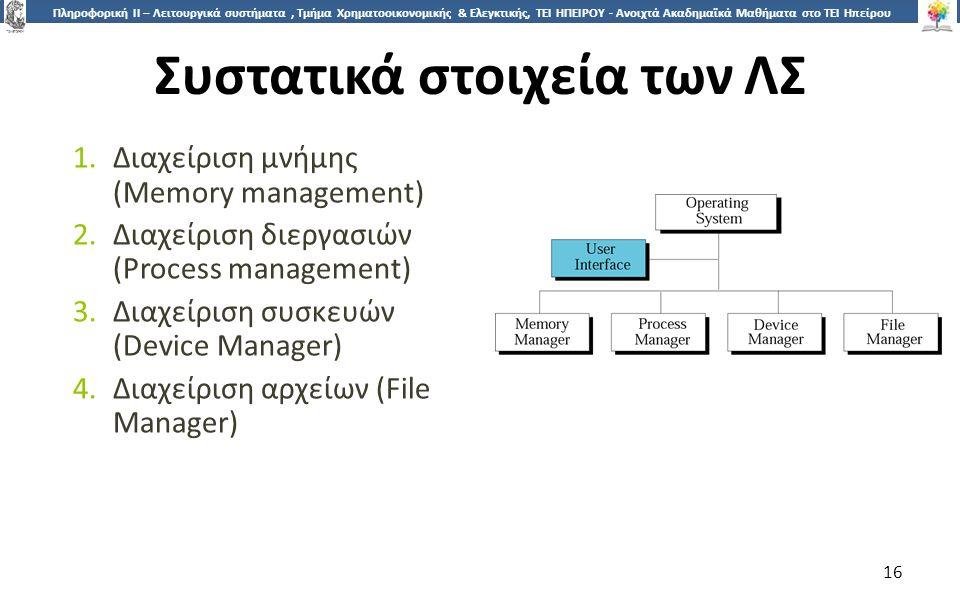 1616 Πληροφορική ΙI – Λειτουργικά συστήματα, Τμήμα Χρηματοοικονομικής & Ελεγκτικής, ΤΕΙ ΗΠΕΙΡΟΥ - Ανοιχτά Ακαδημαϊκά Μαθήματα στο ΤΕΙ Ηπείρου Συστατικά στοιχεία των ΛΣ 1.Διαχείριση μνήμης (Memory management) 2.Διαχείριση διεργασιών (Process management) 3.Διαχείριση συσκευών (Device Manager) 4.Διαχείριση αρχείων (File Manager) 16