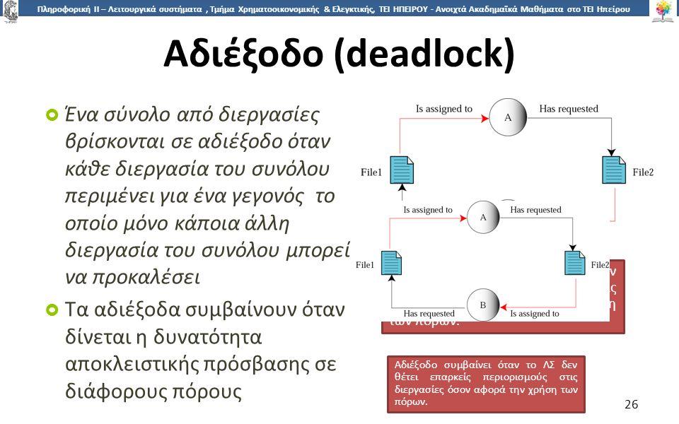 2626 Πληροφορική ΙI – Λειτουργικά συστήματα, Τμήμα Χρηματοοικονομικής & Ελεγκτικής, ΤΕΙ ΗΠΕΙΡΟΥ - Ανοιχτά Ακαδημαϊκά Μαθήματα στο ΤΕΙ Ηπείρου Αδιέξοδο (deadlock)  Ένα σύνολο από διεργασίες βρίσκονται σε αδιέξοδο όταν κάθε διεργασία του συνόλου περιμένει για ένα γεγονός το οποίο μόνο κάποια άλλη διεργασία του συνόλου μπορεί να προκαλέσει  Τα αδιέξοδα συμβαίνουν όταν δίνεται η δυνατότητα αποκλειστικής πρόσβασης σε διάφορους πόρους 26 Αδιέξοδο συμβαίνει όταν το ΛΣ δεν θέτει επαρκείς περιορισμούς στις διεργασίες όσον αφορά την χρήση των πόρων.