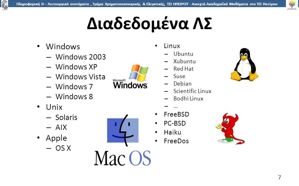 7 Πληροφορική ΙI – Λειτουργικά συστήματα, Τμήμα Χρηματοοικονομικής & Ελεγκτικής, ΤΕΙ ΗΠΕΙΡΟΥ - Ανοιχτά Ακαδημαϊκά Μαθήματα στο ΤΕΙ Ηπείρου Διαδεδομένα ΛΣ 7 Windows – Windows 2003 – Windows XP – Windows Vista – Windows 7 – Windows 8 Unix – Solaris – AIX Apple – OS X Linux – Ubuntu – Xubuntu – Red Hat – Suse – Debian – Scientific Linux – Bodhi Linux – … FreeBSD PC-BSD Haiku FreeDos
