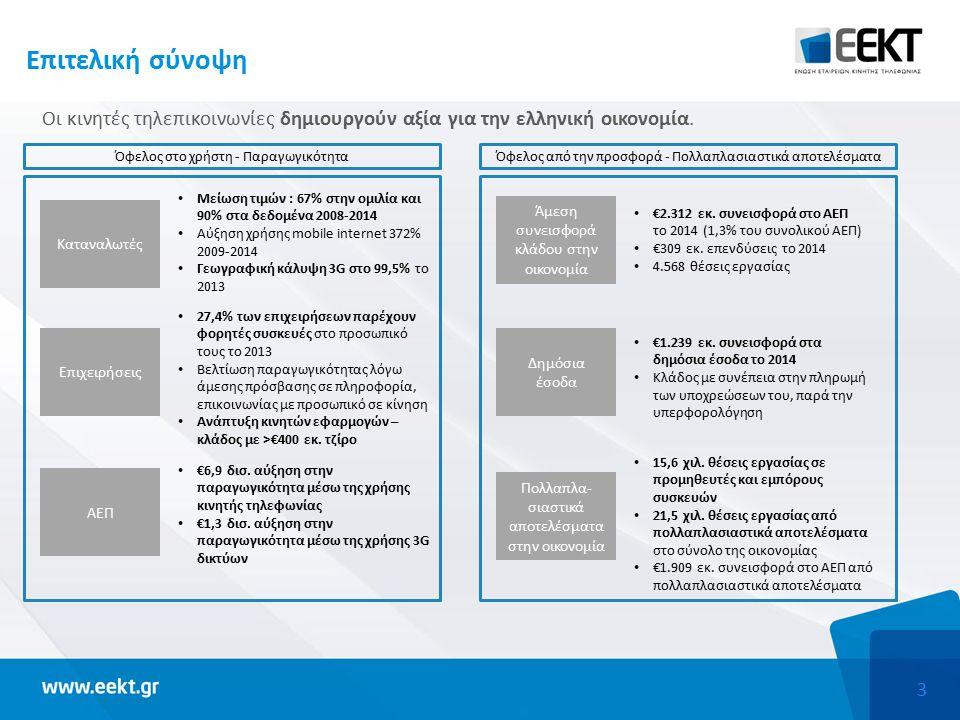 3 Επιτελική σύνοψη Οι κινητές τηλεπικοινωνίες δημιουργούν αξία για την ελληνική οικονομία.