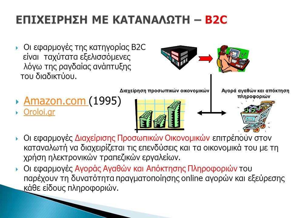  Οι εφαρμογές της κατηγορίας B2C είναι ταχύτατα εξελισσόμενες λόγω της ραγδαίας ανάπτυξης του διαδικτύου.  Amazon.com (1995) Amazon.com  Oroloi.gr