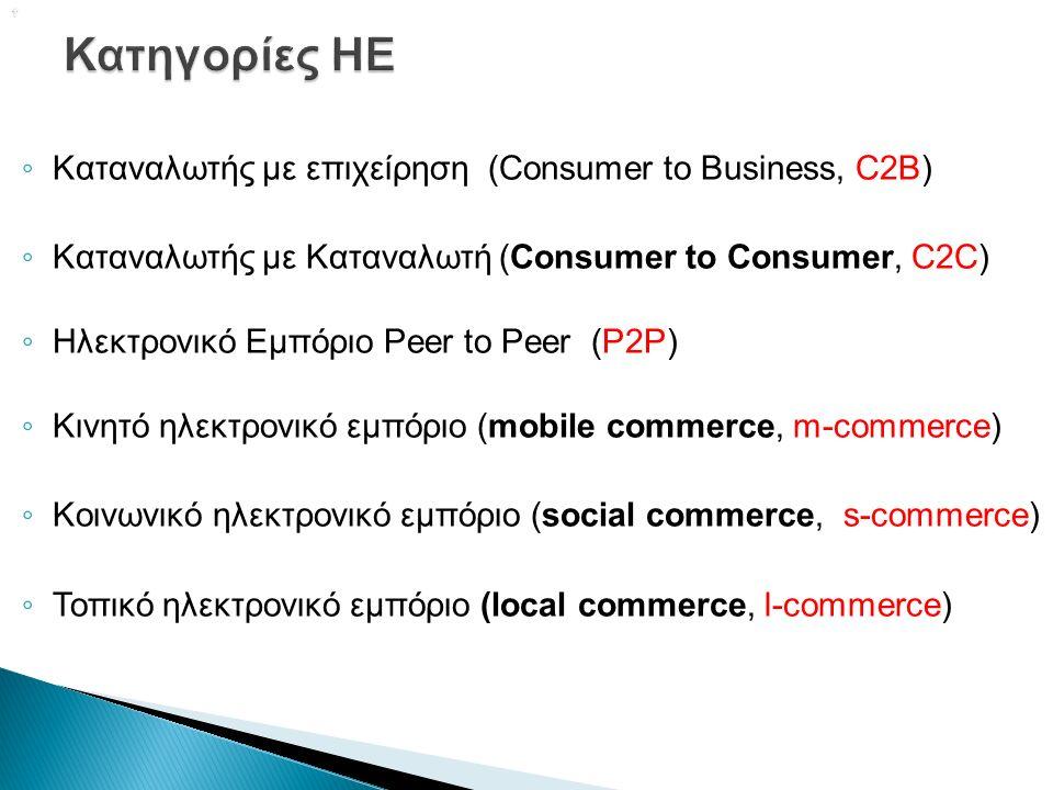  ◦ Καταναλωτής με επιχείρηση (Consumer to Business, C2B) ◦ Καταναλωτής με Καταναλωτή (Consumer to Consumer, C2C) ◦ Ηλεκτρονικό Εμπόριο Peer to Peer (P2P) ◦ Κινητό ηλεκτρονικό εμπόριο (mobile commerce, m-commerce) ◦ Κοινωνικό ηλεκτρονικό εμπόριο (social commerce, s-commerce) ◦ Τοπικό ηλεκτρονικό εμπόριο (local commerce, l-commerce)