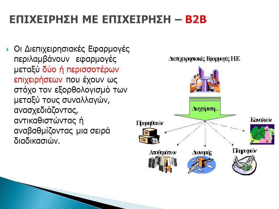  Οι Διεπιχειρησιακές Εφαρμογές περιλαμβάνουν εφαρμογές μεταξύ δύο ή περισσοτέρων επιχειρήσεων που έχουν ως στόχο τον εξορθολογισμό των μεταξύ τους συναλλαγών, ανασχεδιάζοντας, αντικαθιστώντας ή αναβαθμίζοντας μια σειρά διαδικασιών.