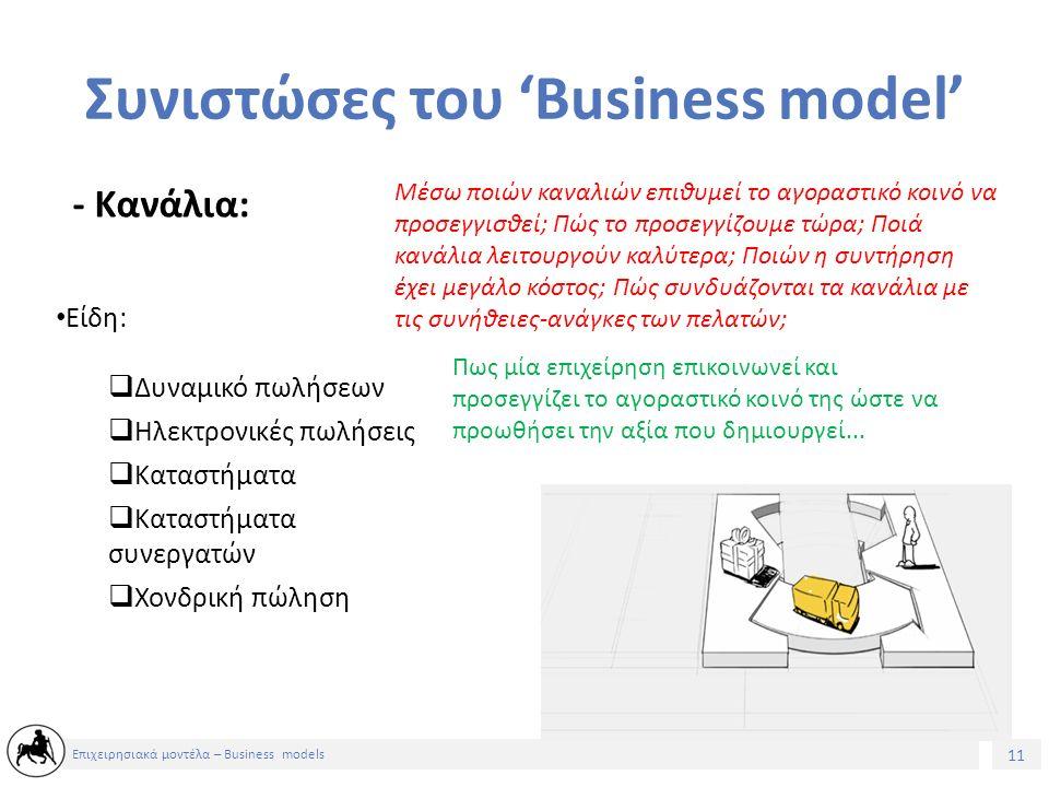 11 Επιχειρησιακά μοντέλα – Business models Συνιστώσες του 'Business model' - Κανάλια: Μέσω ποιών καναλιών επιθυμεί το αγοραστικό κοινό να προσεγγισθεί; Πώς το προσεγγίζουμε τώρα; Ποιά κανάλια λειτουργούν καλύτερα; Ποιών η συντήρηση έχει μεγάλο κόστος; Πώς συνδυάζονται τα κανάλια με τις συνήθειες-ανάγκες των πελατών; Πως μία επιχείρηση επικοινωνεί και προσεγγίζει το αγοραστικό κοινό της ώστε να προωθήσει την αξία που δημιουργεί...