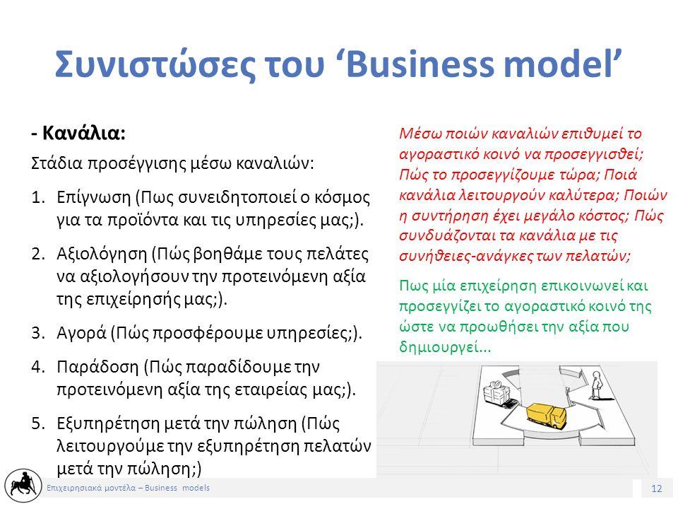12 Επιχειρησιακά μοντέλα – Business models Συνιστώσες του 'Business model' Στάδια προσέγγισης μέσω καναλιών: 1.Επίγνωση (Πως συνειδητοποιεί ο κόσμος για τα προϊόντα και τις υπηρεσίες μας;).