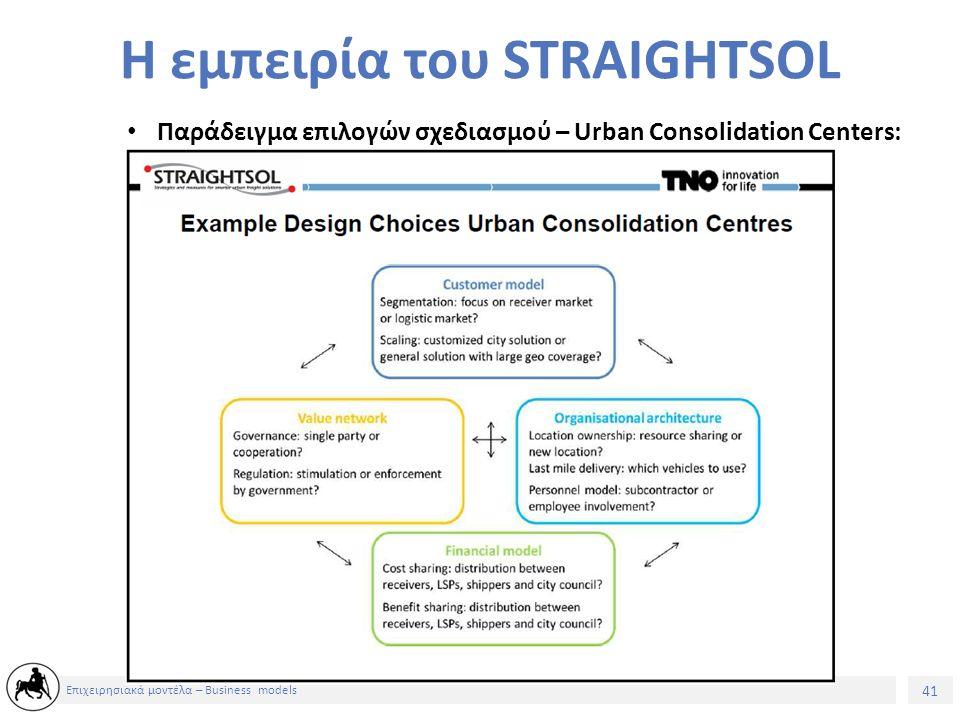 41 Επιχειρησιακά μοντέλα – Business models Παράδειγμα επιλογών σχεδιασμού – Urban Consolidation Centers: Η εμπειρία του STRAIGHTSOL