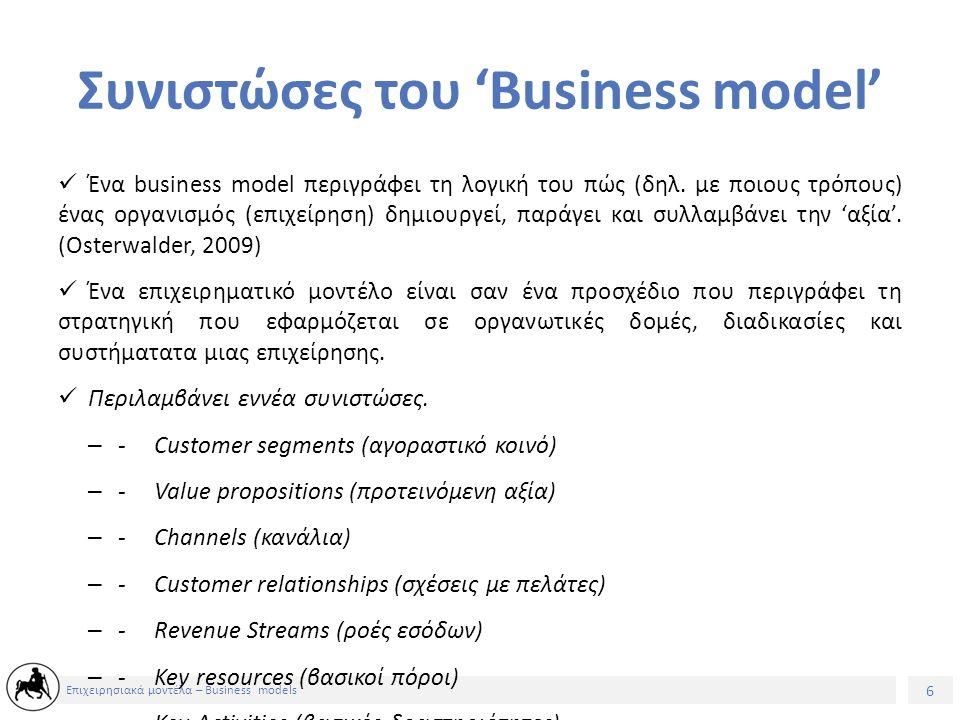 6 Επιχειρησιακά μοντέλα – Business models Συνιστώσες του 'Business model' Ένα business model περιγράφει τη λογική του πώς (δηλ.