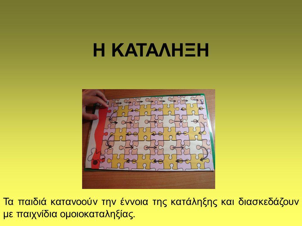 Η ΚΑΤΑΛΗΞΗ Τα παιδιά κατανοούν την έννοια της κατάληξης και διασκεδάζουν με παιχνίδια ομοιοκαταληξίας.