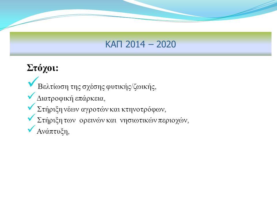 Στόχοι: Βελτίωση της σχέσης φυτικής/ζωικής, Διατροφική επάρκεια, Στήριξη νέων αγροτών και κτηνοτρόφων, Στήριξη των ορεινών και νησιωτικών περιοχών, Ανάπτυξη, ΚΑΠ 2014 – 2020