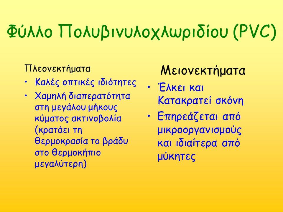 Φύλλο Πολυβινυλοχλωριδίου (PVC) Πλεονεκτήματα Καλές οπτικές ιδιότητες Χαμηλή διαπερατότητα στη μεγάλου μήκους κύματος ακτινοβολία (κρατάει τη θερμοκρα